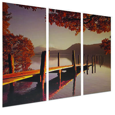 canvas Wall art Lakeside Autumn Jetty Triptych Canvas