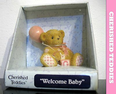 Enesco Cherished Teddies Welcome Baby Girl Pink balloon 2003