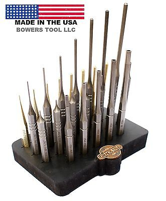 Grace 27pc Gunsmith Roll Pin Spring Punch Set Steel & Brass Gun Care w Block USA