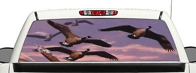 Truck SUV Geese Flying Hunting Rear Window Graphic Decal Perforated Vinyl Wrap