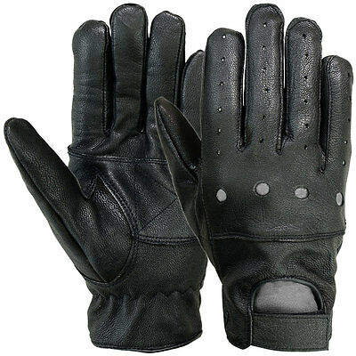 Driving Gloves Motorcycle Leather Soft Outdoor Glove Full Finger Workout, Black