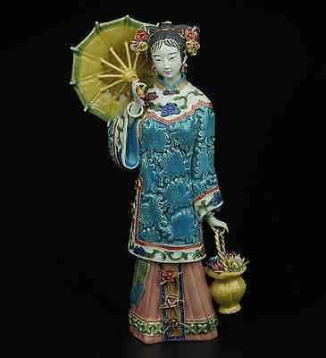 China Pottery Wucai Porcelain Art Home Display Woman Ladies hold Umbrella Statue