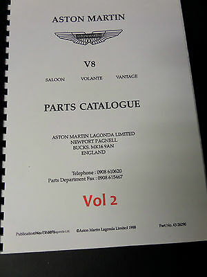 Aston Martin V8 Saloon/Volante/Vantage parts catalogue Volume 2