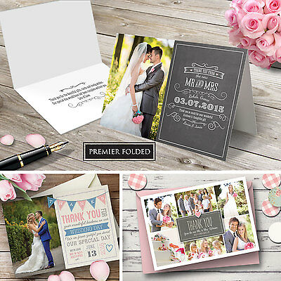 Premium FOLDED Personalised Wedding Thank You Cards Includes Envelopes + Photo
