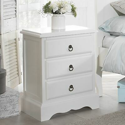 Romance white bedside table, french bedside cabinet 3dr, Quality FULLY ASSEMBLED