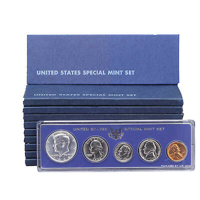 1966 SMS 10 Pack Original Boxes 40% Silver Kennedy US Special Mint Sets