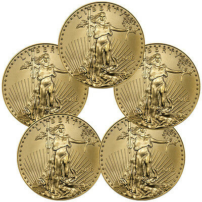 Lot of 5 Coins - 2016 $5 1/10 Troy Oz American Gold Eagle Coins SKU38292