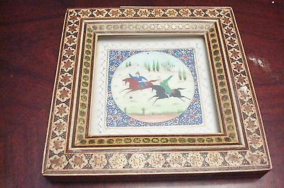 Vintage Persian Painting On Camel Bone in Khatam Frame /horse man playing[2]