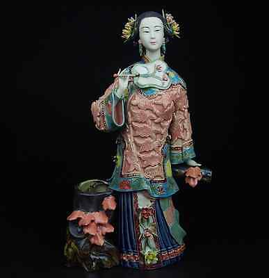 China Pottery Wucai Porcelain Home Display Woman Ladies Crafts Decoration Statue