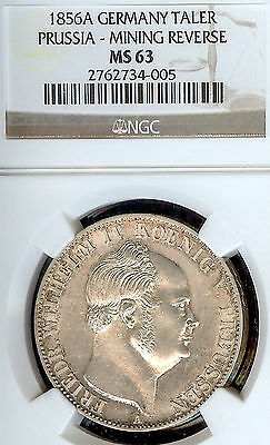 Germany Prussia 1856 A Mining Taler Coin Thaler NGC MS 63 F.Stg  Deutschland UNC