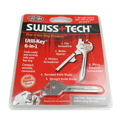 Swiss+Tech 6 In 1 Utili-Key Tool Keychain Keyring Multi-Function Stainless Steel