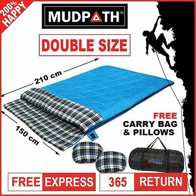 OzEagle Double Outdoor Camping Sleeping Bag Hiking Winter -10°C 220x150cm Blue