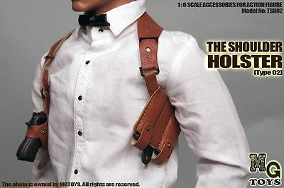 MG Toys 1/6 Scale Mens Brown Shoulder Holster Set For Hot Toys Figure Body