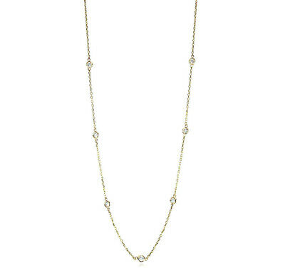 """Handmade 14K Yellow Gold Station Necklace With Diamonds By The Yard 18"""" .7 Carat"""