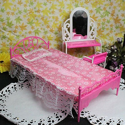 Plastic Miniatures Bedroom Furniture Single Bed For Barbie Dolls Dollhouse Chic