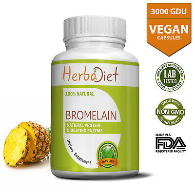 Bromelain 3000GDU 500mg Extract Capsules DIGESTIVE ENZYME INFLAMMATION Support