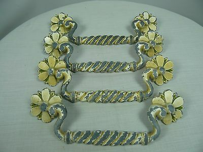 4 Drawer Pulls cast metal Daisy Floral Twisted Design AS FOUND Condition Patina • CAD $22.02