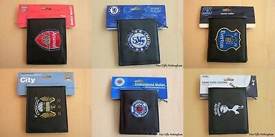 Black Leather FC Football Club Wallets Embroidered Club Crest