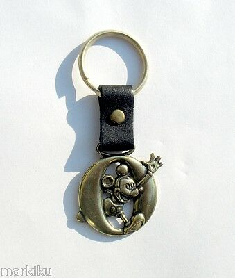 Vintage Disney Mickey Mouse Brass Keychain key chain ring with leather letter O