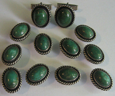 Vintage Navajo Indian Silver & Green Turquoise Cufflinks & Ten Button Covers