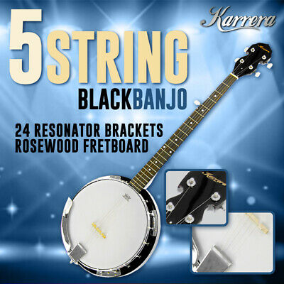 New Karrera 5 String Bluegrass Resonator Banjo Gloss Black