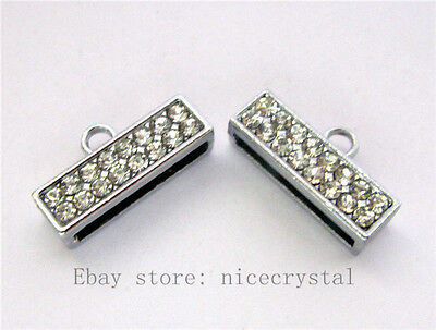 30pcs DIY Rhinestone End clasp(Can through 2pcs 8mm belt Fit name phone strap)