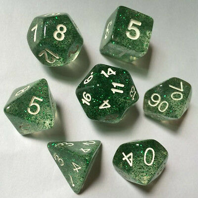 7pcs/set TRPG Game Dungeons & Dragons Glitter D4-D20 Multi Sides Dice JEDE GREEN