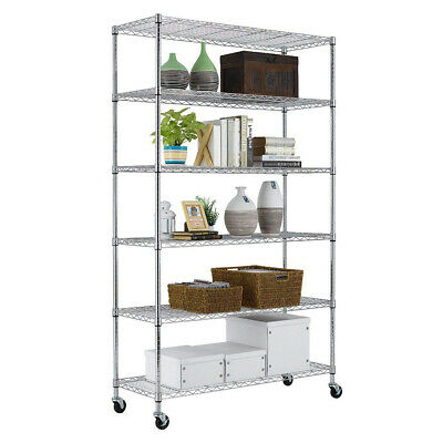 "Chrome 82""x48""x18"" 6 Tier Layer Shelf Adjustable Wire Metal Shelving Rack 76"