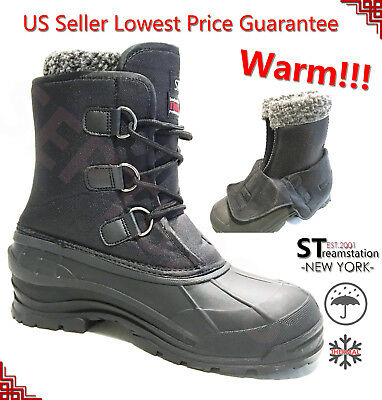 "Men's Black Winter Snow Boots Shoes Warm Lined Thermolite Waterproof 10"" 2006"