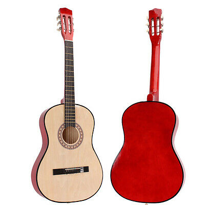 """New 38"""" Basswood Fingerboard Classic Acoustic Guitar Natural Color+Pick+String"""