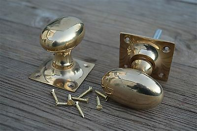 A Pair Of Solid Brass Edwardian Oval Door Knobs On Square Backplate Handle Cb8 • CAD $37.99