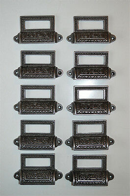 10 Edwardian Style Patterned Cast Iron Label Frame Handle Filing Drawer Pull Cb9