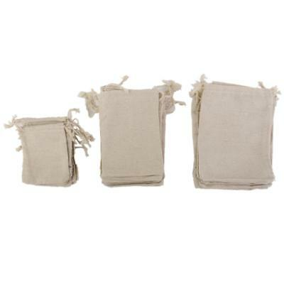 lot of 10 Burlap Line Jute Drawstring Jewelry Pouch Gift Bags Wedding Sack S/M/L