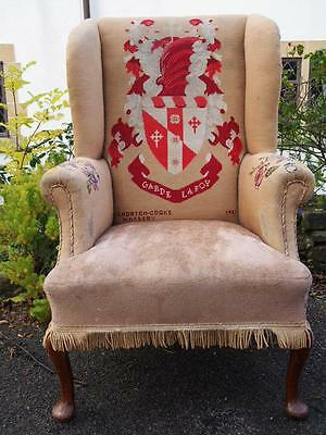 """Embroidered Crest Vintage Wingback Armchair """"Garde Lafoy"""" 1951 Flowers to Arms"""