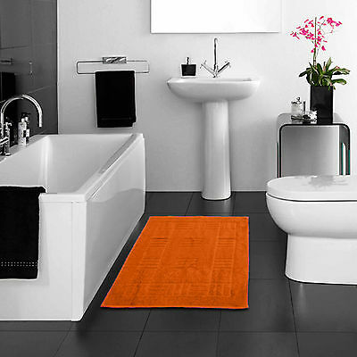 100% Egyptian Cotton Bath Mats - Orange Super Soft Washable Bathroom Toilet Mat
