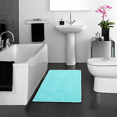 100% Egyptian Cotton Bath Mats Turquoise Blue Soft Washable Bathroom Toilet Mat