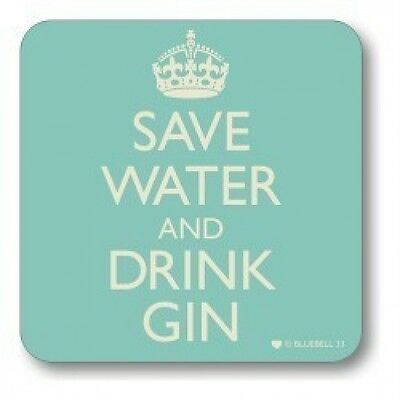 Save Water and Drink Gin Coaster - Retro style Great Birthday / gift for friend