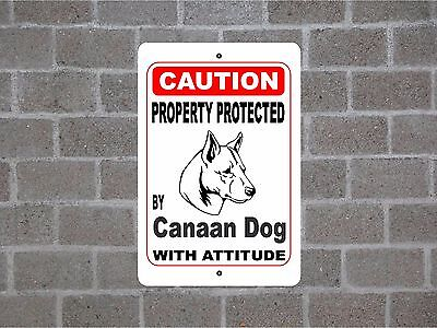 Property protected by Canaan Dog breed with attitude metal sign #B