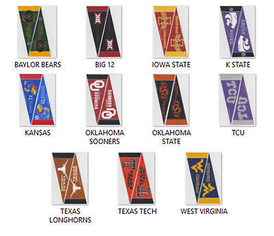 2 New Ncaa Big 12 Mini Wool Felt Pennants Officially Licensed You Pick Team