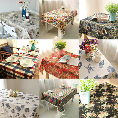 New Cotton Linen Floral Tablecloth Square Round Table Cover Cloth Home Decor