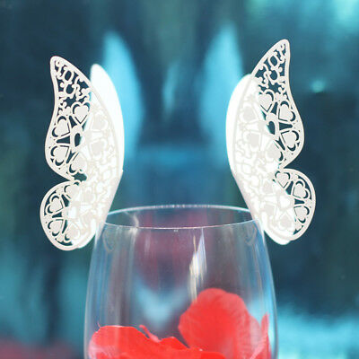 50pcs White Butterfly Wine Glass Name Place Cards Wedding Party Decoration