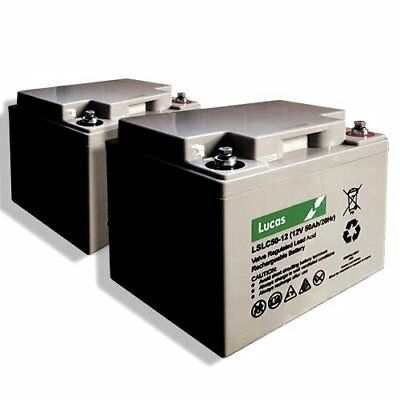 2 x LUCAS 12V 50AH (replaces 40ah & 42ah) Mobility Scooter Batteries