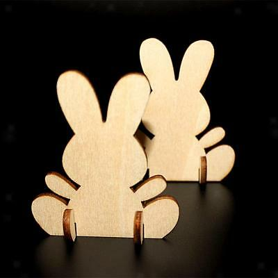10x Wooden Standing Rabbits Bunny Shape Craft Embellishment 70mm DIY Paint