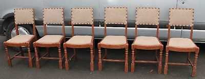 Set 6 Sturdy Beech Dining Chairs with Neutral upholstery turned legs 1930's