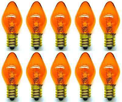 Box of 10 Bulbs 7C7/TA/120V 7 Watt 120 Volt Screw Base E12 Amber Nightlight
