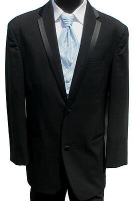 Black Perry Ellis Two Button Tuxedo Package Wedding Prom Formal Cruise 42L