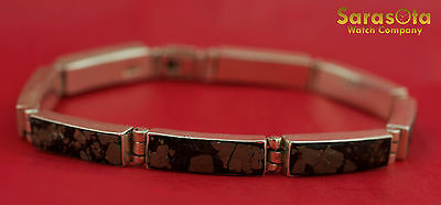 "Sterling Silver 925 Pyrite Closed Box Link Hidden Box Clasp 9"" Bracelet"