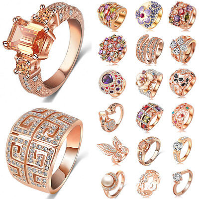 Women Fashion Jewelry Charm CZ 18K Rose Gold Filled Crystal Ring Wedding Banquet