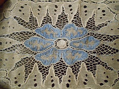 Antique Blue Embroidered France or Italy Net Lace Runner Shawl Veil