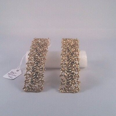 Vintage NWT Barrettes France Pair Gold Floral Chintz Large French Style